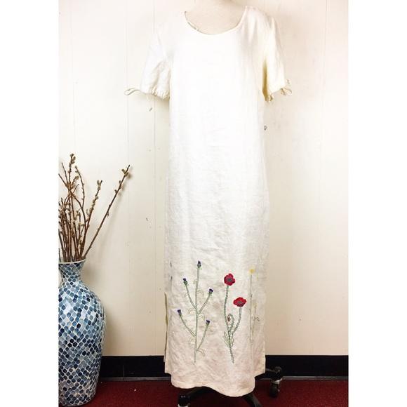 Vintage Dresses & Skirts - Vintage 90s Studio Ease Linen Embroidered Dress